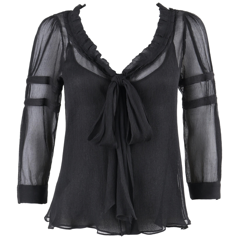 PRADA c.2006 Black Ruffle Trim Neckline Silk Chiffon Crepe Semi Sheer Blouse Top