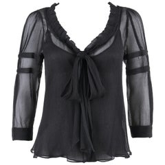 PRADA c.2006 Black Ruffle Trim Neckline Silk Chiffon Crepe Semi Sheer Blouse Top