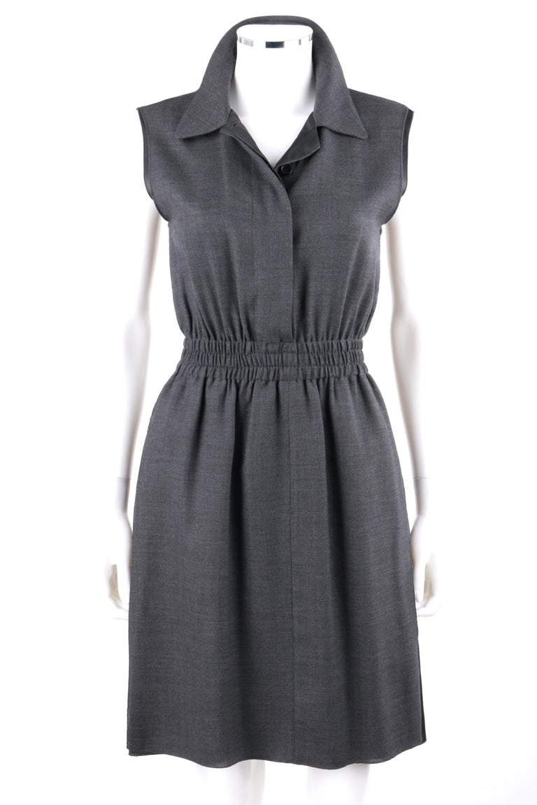 PRADA c.2010 Heathered Gray Peter Pan Collar Sleeveless Sheath Dress    Brand / Manufacturer: Prada Collection: c.2010 Designer: Miuccia Prada Style: Sleeveless dress Color(s): Shades of gray (exterior, interior) Lined: Yes Marked Fabric Content: