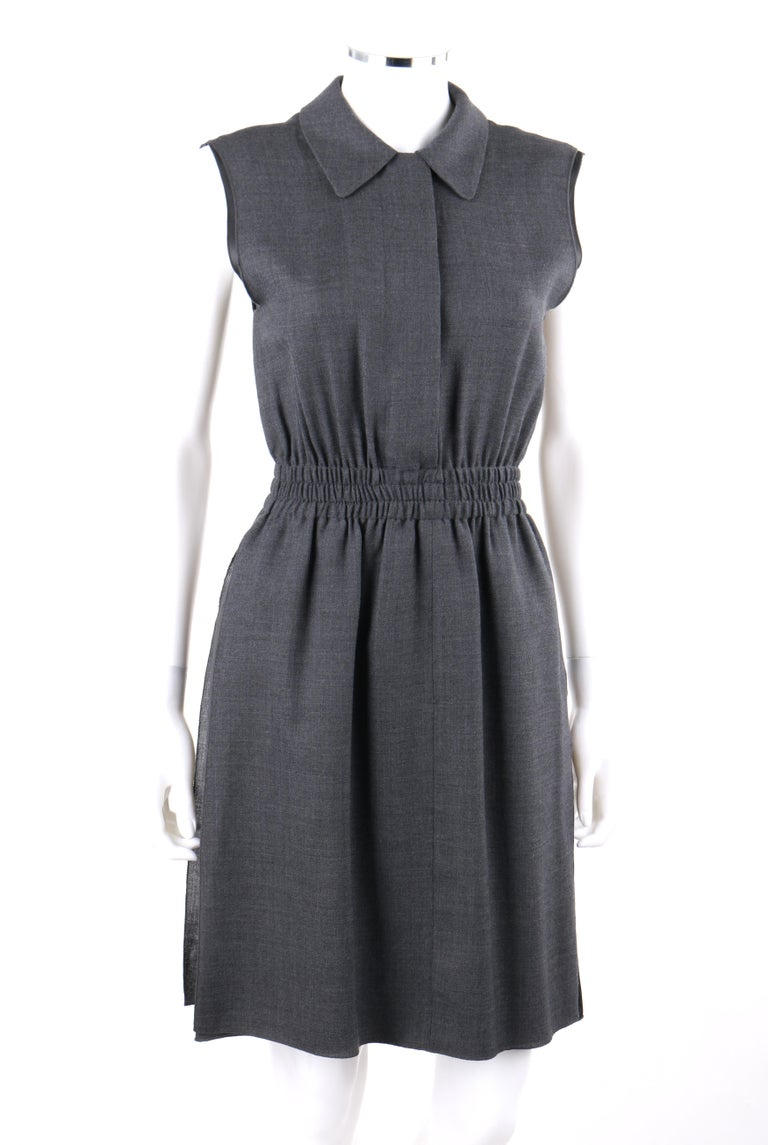 PRADA c.2010 Heathered Gray Peter Pan Collar Sleeveless Sheath Dress In Good Condition For Sale In Thiensville, WI