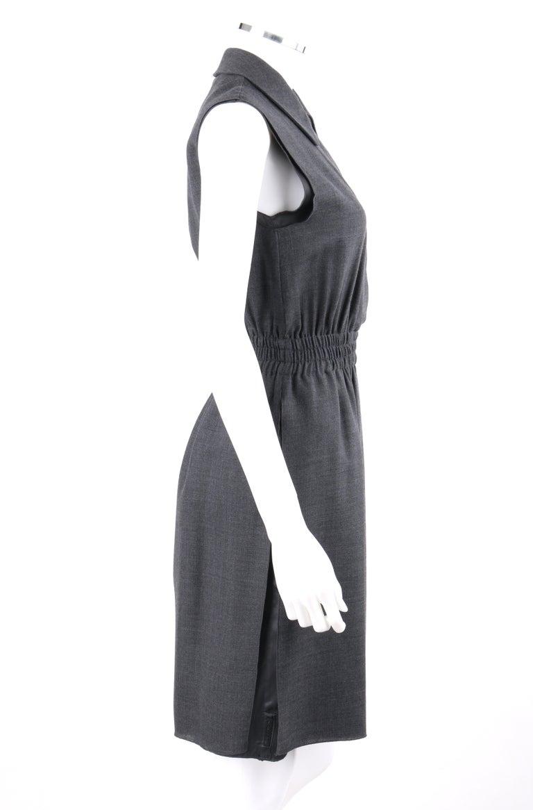 Women's PRADA c.2010 Heathered Gray Peter Pan Collar Sleeveless Sheath Dress For Sale