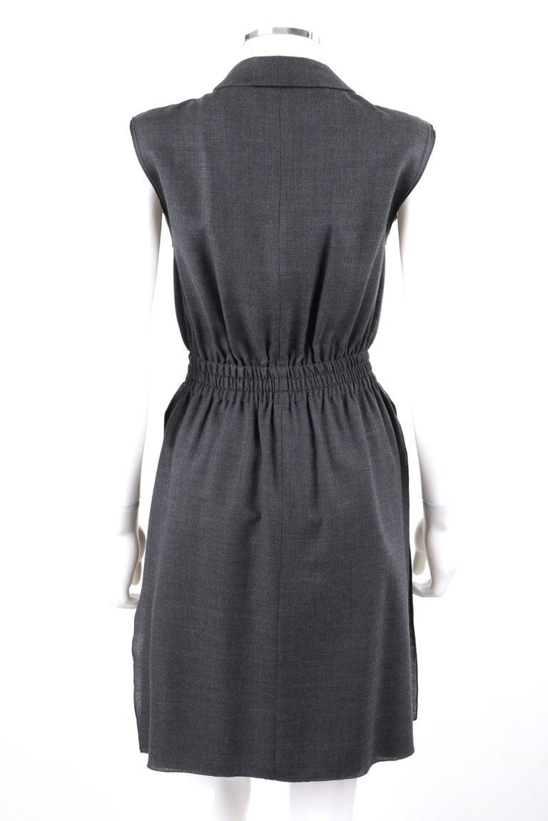PRADA c.2010 Heathered Gray Peter Pan Collar Sleeveless Sheath Dress For Sale 1