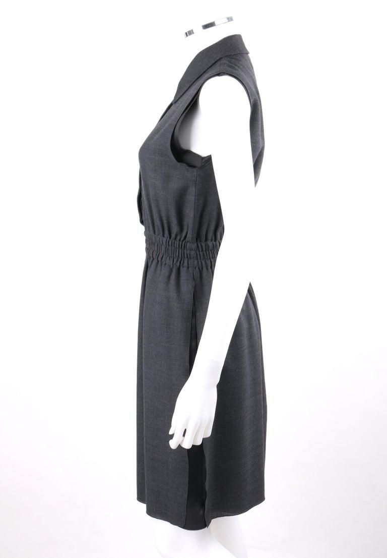 PRADA c.2010 Heathered Gray Peter Pan Collar Sleeveless Sheath Dress For Sale 2