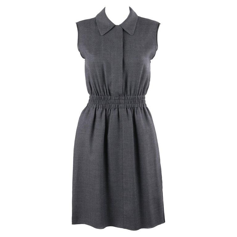 PRADA c.2010 Heathered Gray Peter Pan Collar Sleeveless Sheath Dress For Sale