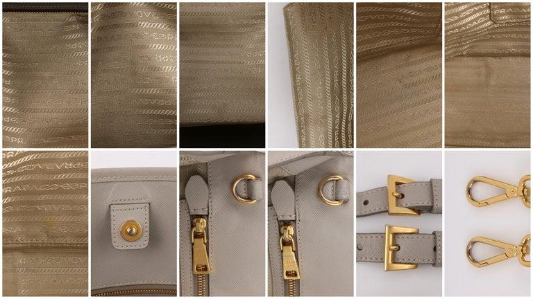 "PRADA c.2011 ""Saffiano Lux"" Pomice Grey Leather Tote + Strap Large Handbag For Sale 5"