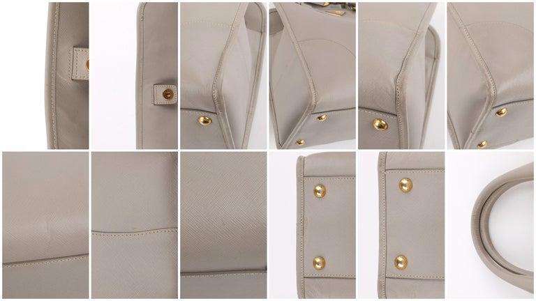 "PRADA c.2011 ""Saffiano Lux"" Pomice Grey Leather Tote + Strap Large Handbag For Sale 6"