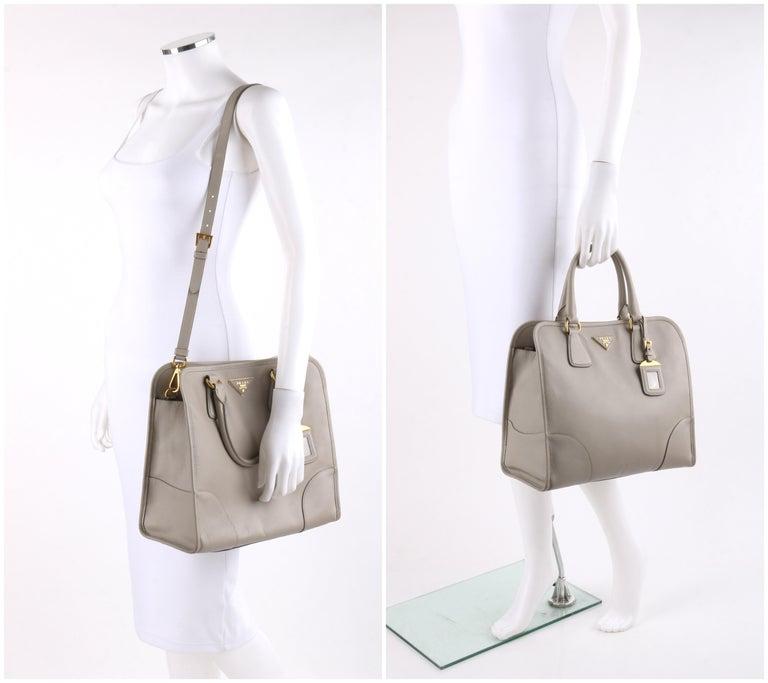 "Gray PRADA c.2011 ""Saffiano Lux"" Pomice Grey Leather Tote + Strap Large Handbag For Sale"