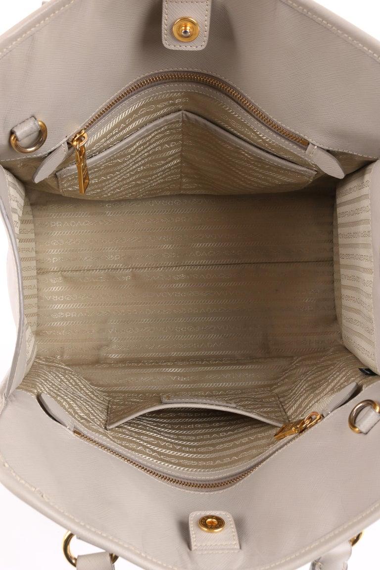 "Women's PRADA c.2011 ""Saffiano Lux"" Pomice Grey Leather Tote + Strap Large Handbag For Sale"