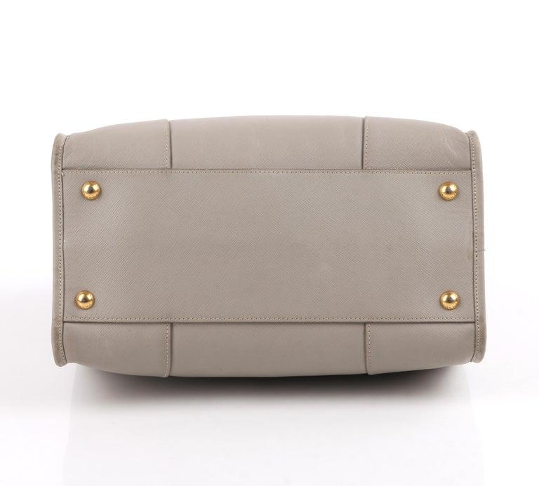"PRADA c.2011 ""Saffiano Lux"" Pomice Grey Leather Tote + Strap Large Handbag For Sale 1"