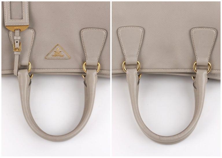 "PRADA c.2011 ""Saffiano Lux"" Pomice Grey Leather Tote + Strap Large Handbag For Sale 3"