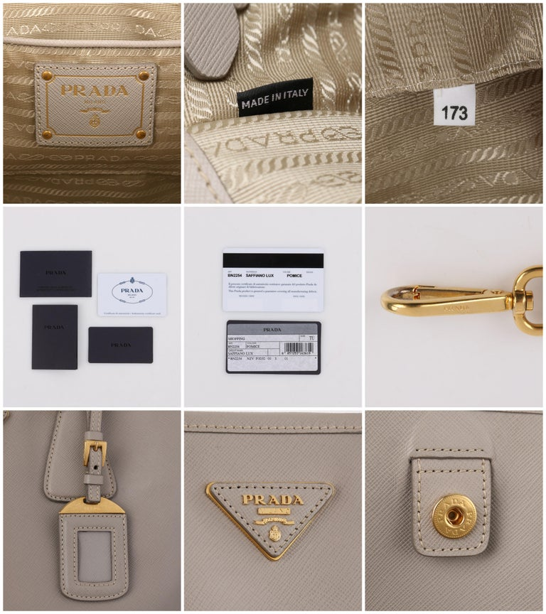 "PRADA c.2011 ""Saffiano Lux"" Pomice Grey Leather Tote + Strap Large Handbag For Sale 4"