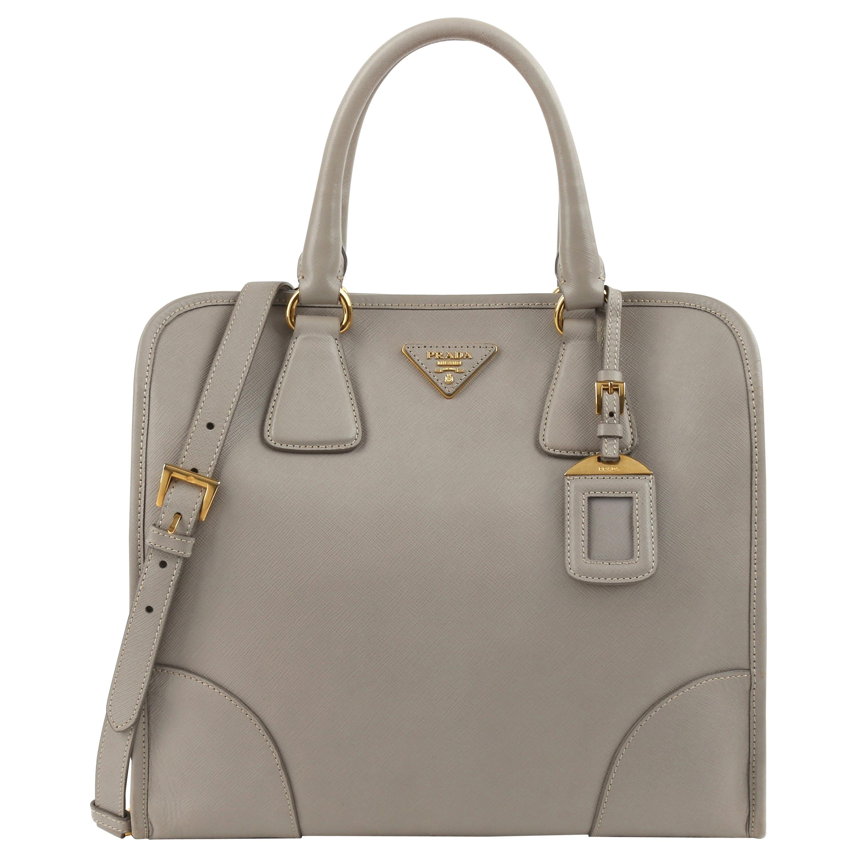 "PRADA c.2011 ""Saffiano Lux"" Pomice Grey Leather Tote + Strap Large Handbag"