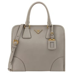 "PRADA c.2011 ""Saffiano Lux"" Pomice Grey Leather Tote + Strap Large Handbag"