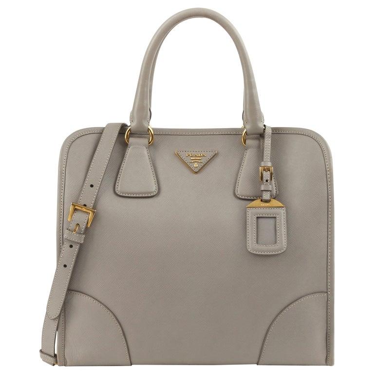 "PRADA c.2011 ""Saffiano Lux"" Pomice Grey Leather Tote + Strap Large Handbag For Sale"