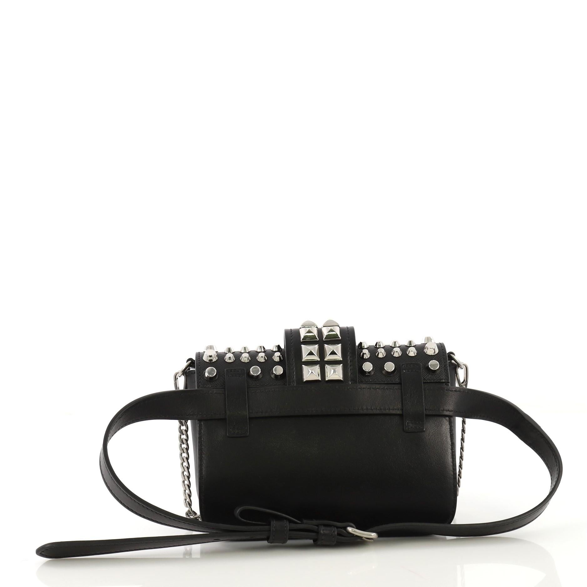 cda2fa92e2d4 Prada Cahier Belt Bag Studded City Calf with Saffiano Leather Small For  Sale at 1stdibs