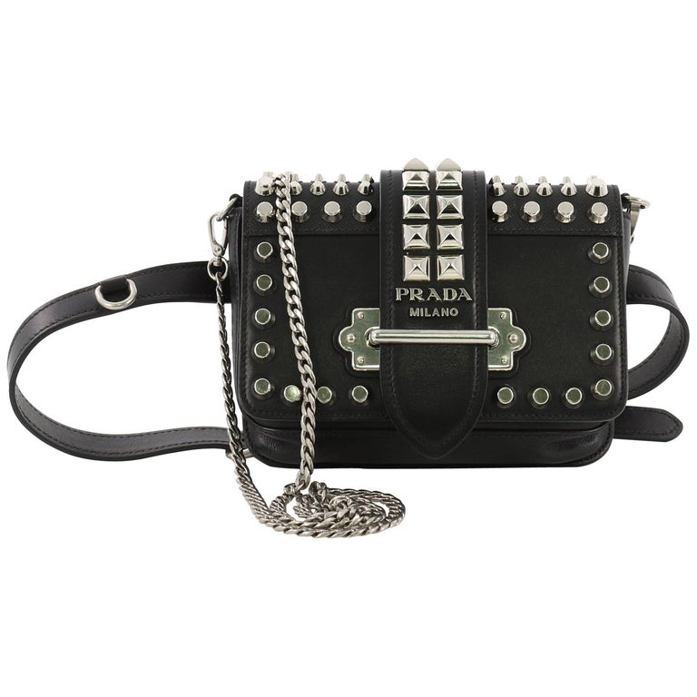 6201644022a6 Prada Cahier Belt Bag Studded City Calf with Saffiano Leather Small For Sale