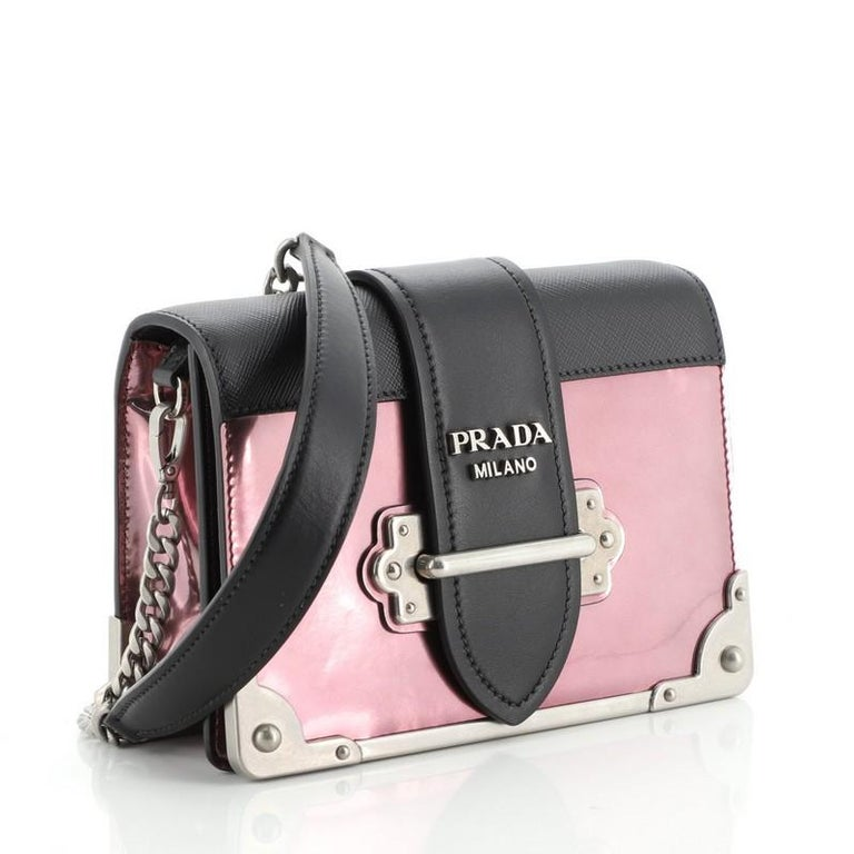 Black Prada Cahier Chain Crossbody Bag Patent and Saffiano Leather Small For Sale