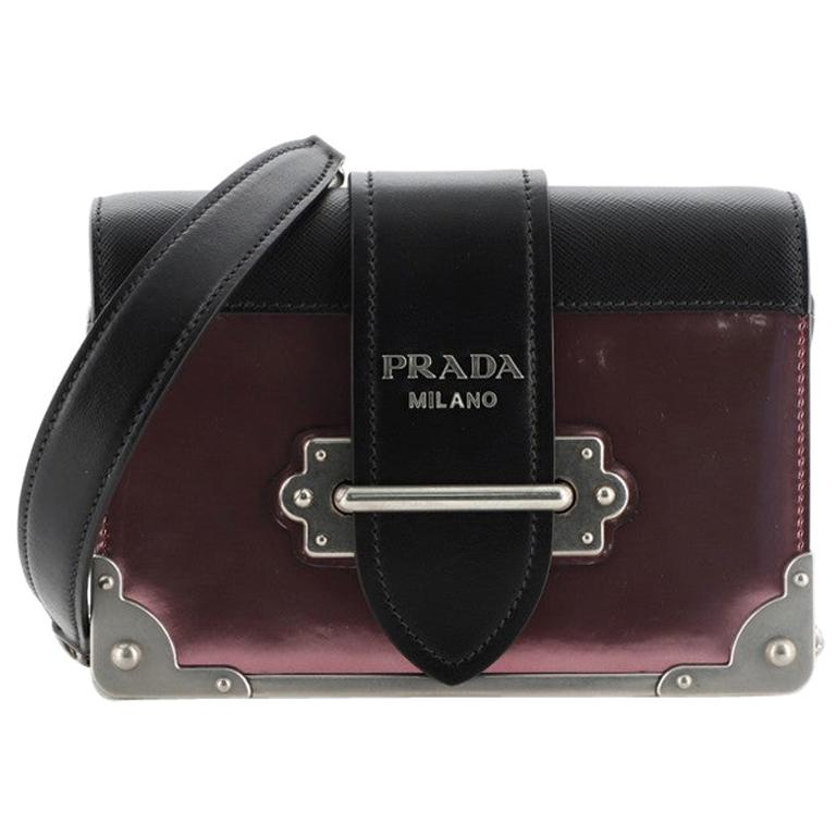 Prada Cahier Chain Crossbody Bag Patent and Saffiano Leather Small For Sale