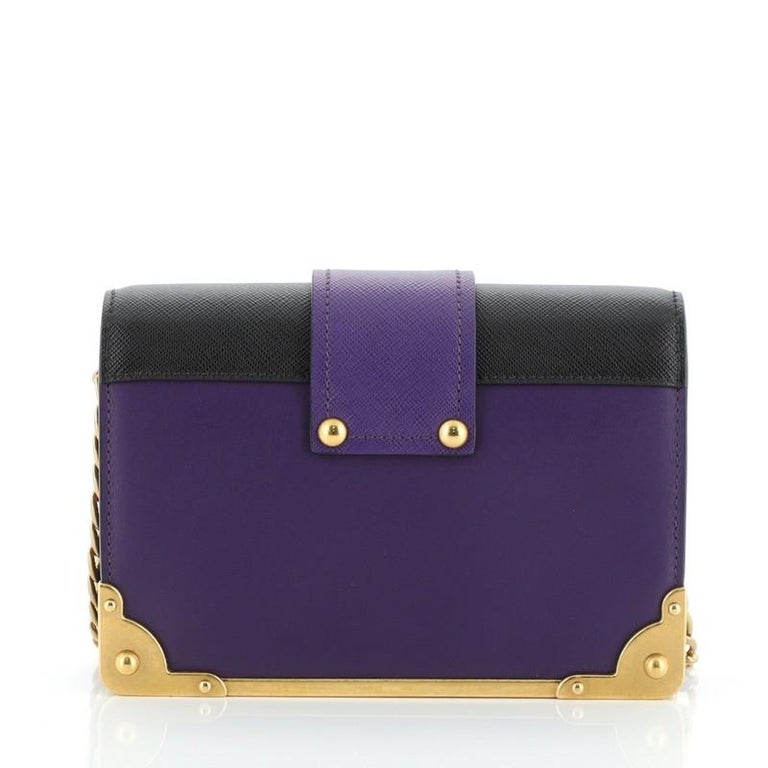 Prada Cahier Crossbody Bag Embellished Leather Small In Good Condition For Sale In New York, NY