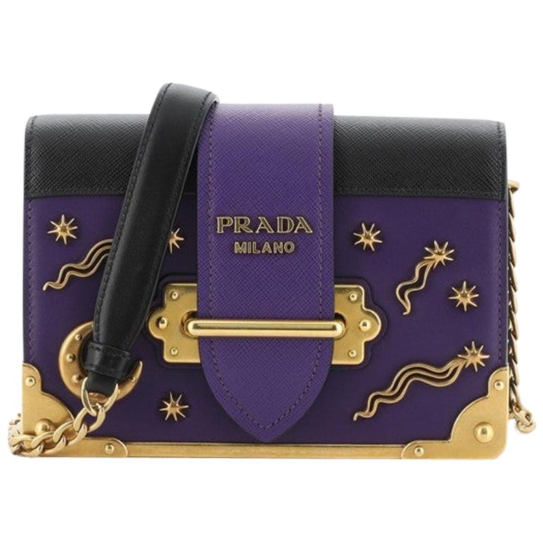 Prada Cahier Crossbody Bag Embellished Leather Small For Sale