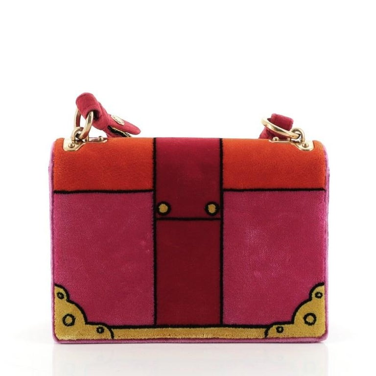 Red Prada Cahier Crossbody Bag Printed Velvet Small