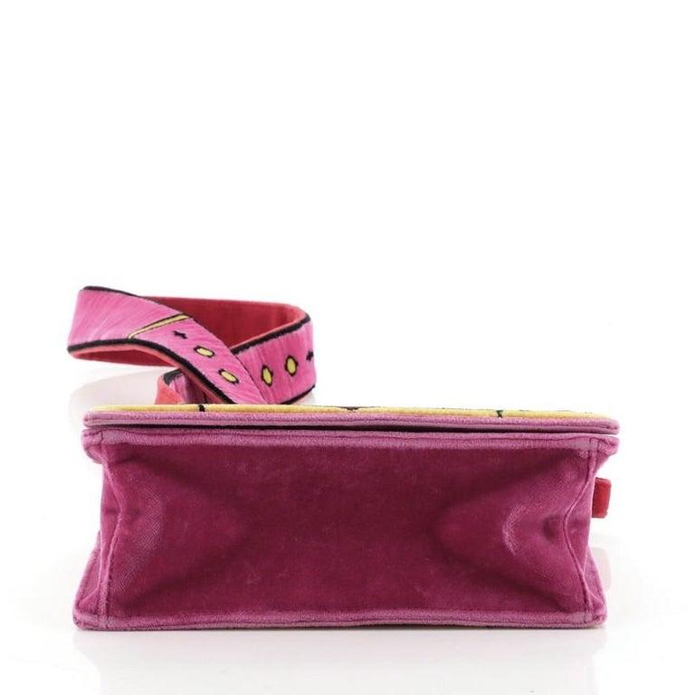 Prada Cahier Crossbody Bag Printed Velvet Small In Good Condition In New York, NY
