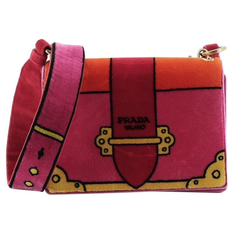 Prada Cahier Crossbody Bag Printed Velvet Small