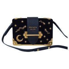 Prada Cahier Moon Stars Celestial Astrology Black & Gold Velvet Cross Body Bag
