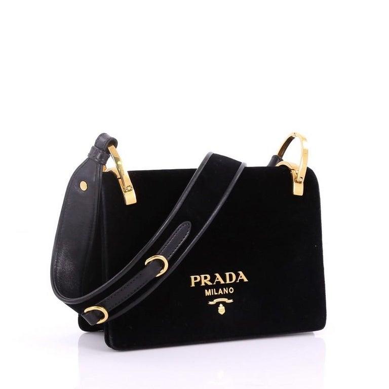 feb3b7e4a37a Black Prada Cahier Shoulder Bag Velvet Small For Sale