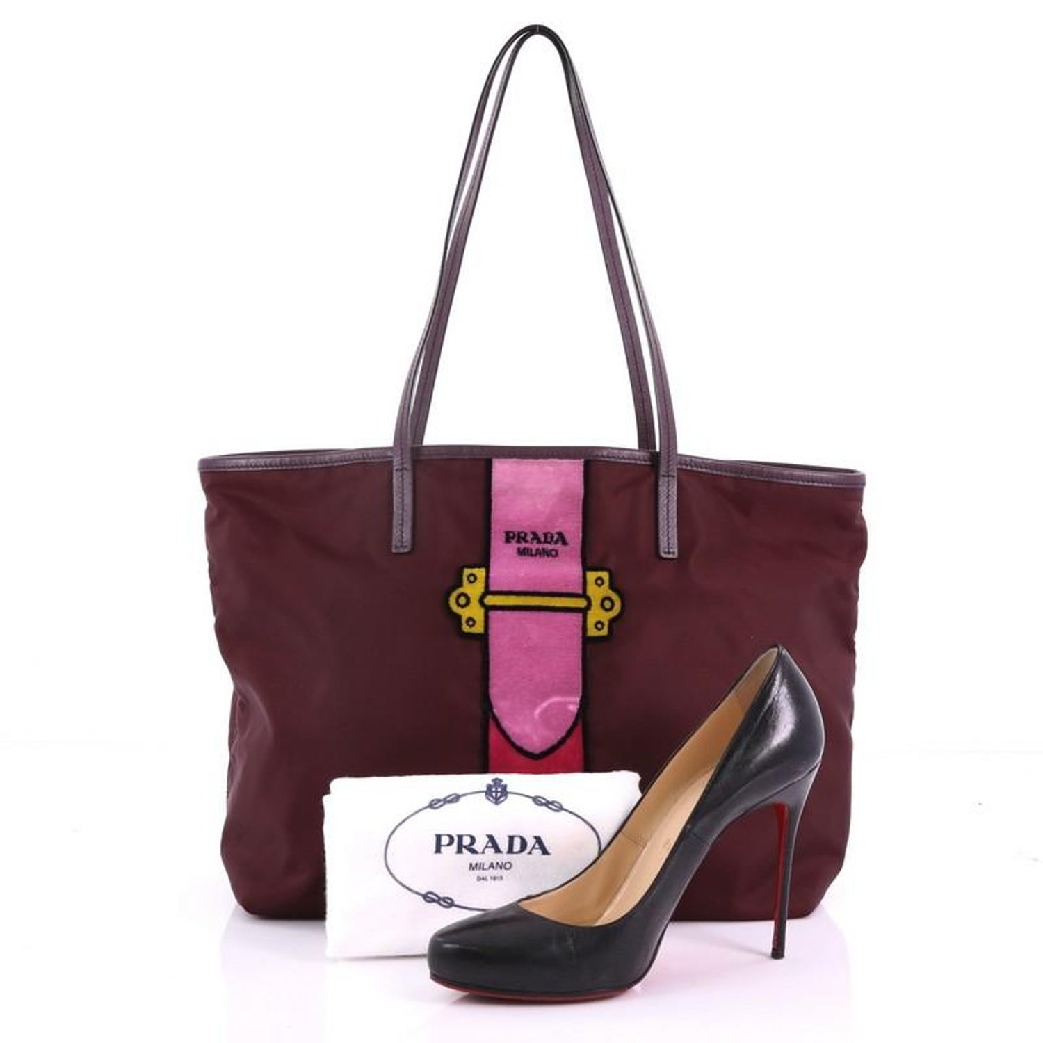a0359bb820db Prada Cahier Tote Bag Tessuto With Velvet Large For Sale at 1stdibs