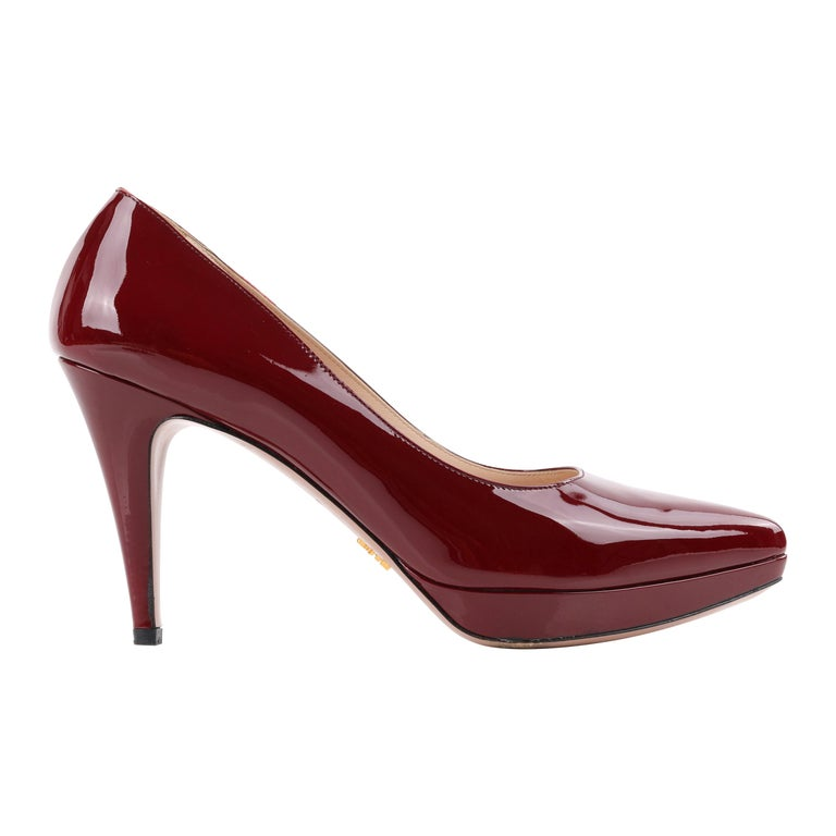 """PRADA """"Calzature Donna"""" Patent Leather Platform Pointed Toe Heels Pumps 40   For Sale"""