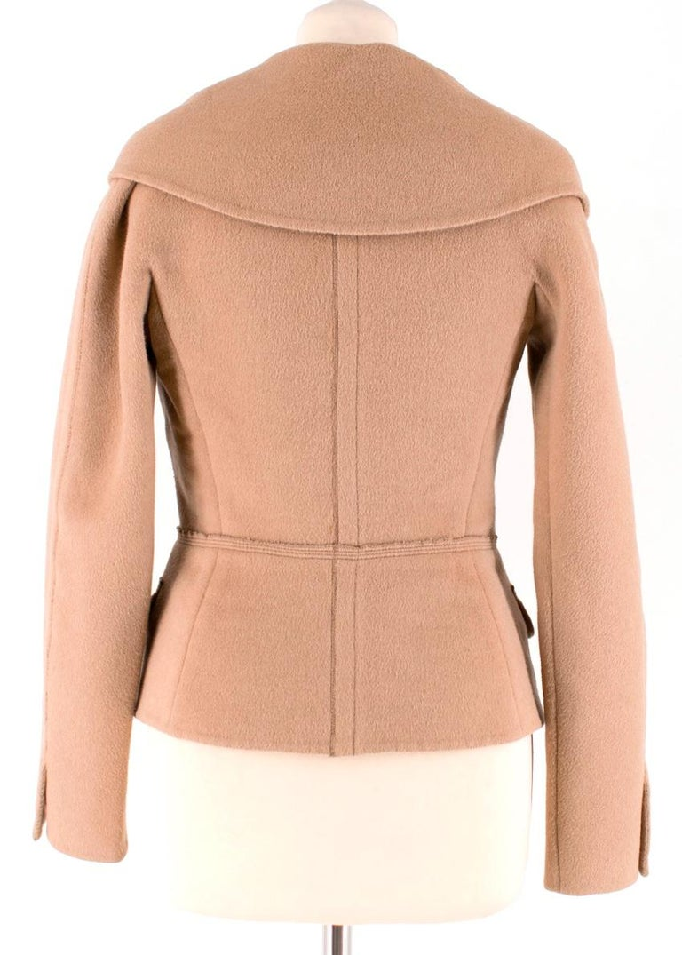 Prada Camel Angora Wool Blend Jacket  XXS 38 In Excellent Condition For Sale In London, GB