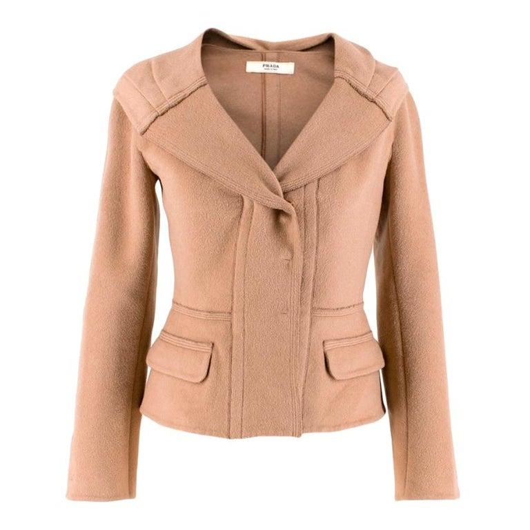 Prada Camel Angora Wool Blend Jacket  XXS 38 For Sale