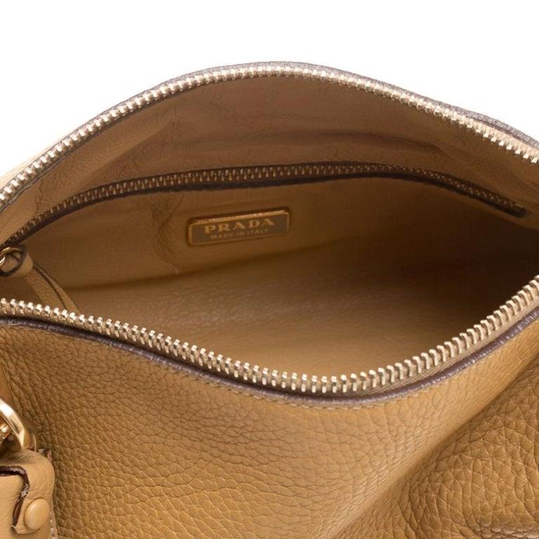 Prada Camel Leather Shoulder Bag For Sale 6