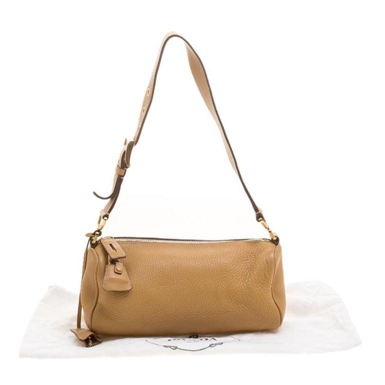Prada Camel Leather Shoulder Bag For Sale 7