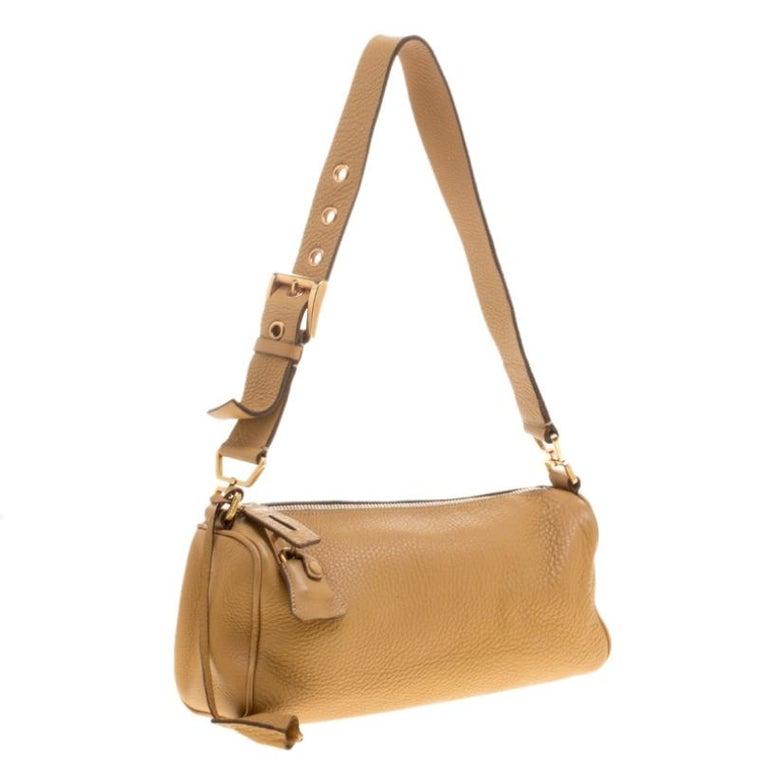 Women's Prada Camel Leather Shoulder Bag For Sale