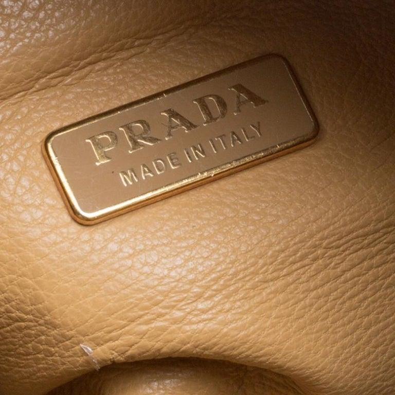 Prada Camel Leather Shoulder Bag For Sale 4