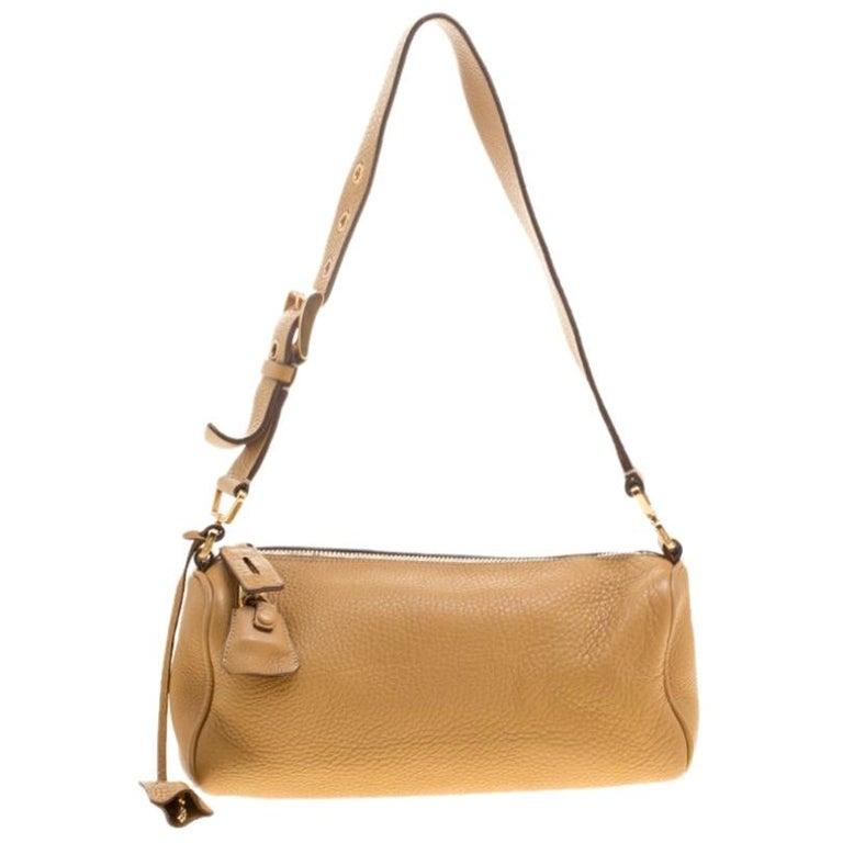 Prada Camel Leather Shoulder Bag For Sale