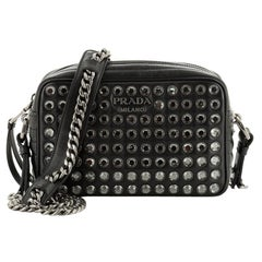 Prada Camera Bag Rhinestone Embellished Diagramme Quilted Leather Small