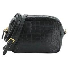 Prada Camera Crossbody Bag Crocodile Embossed Leather Mini