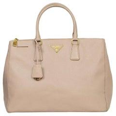 Prada Cammeo Nude Saffiano Large Galleria Double Zip Tote Bag rt $2,430