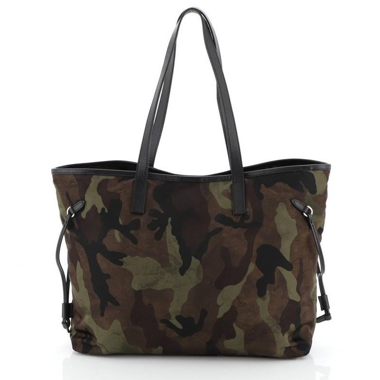 Black Prada Camouflage Convertible Open Tote Tessuto Medium