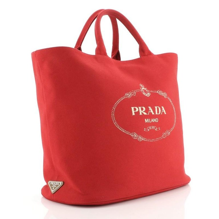 Prada Canapa Convertible Shopping Tote Canvas Large In Good Condition For Sale In New York, NY