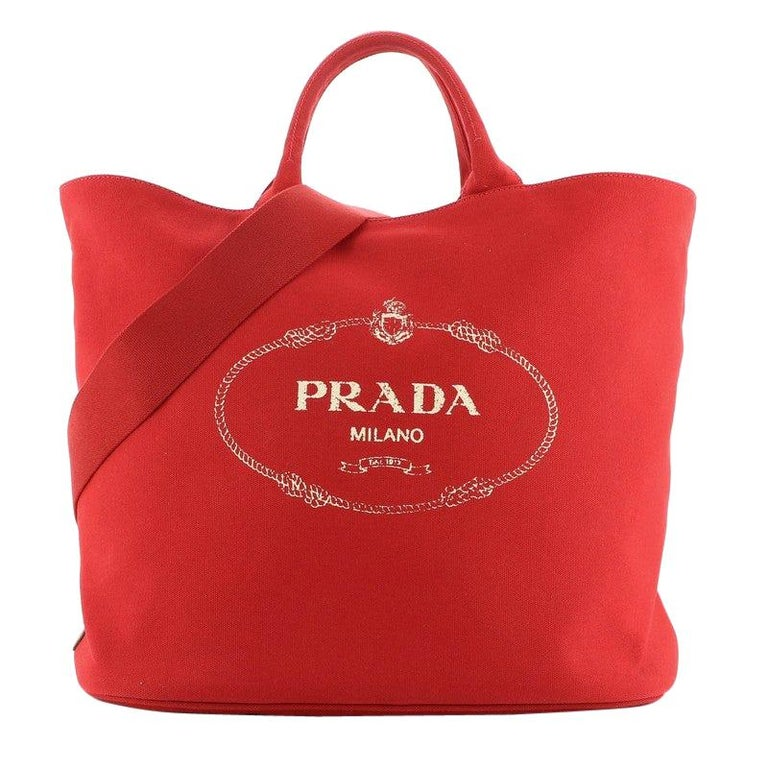 Prada Canapa Convertible Shopping Tote Canvas Large For Sale