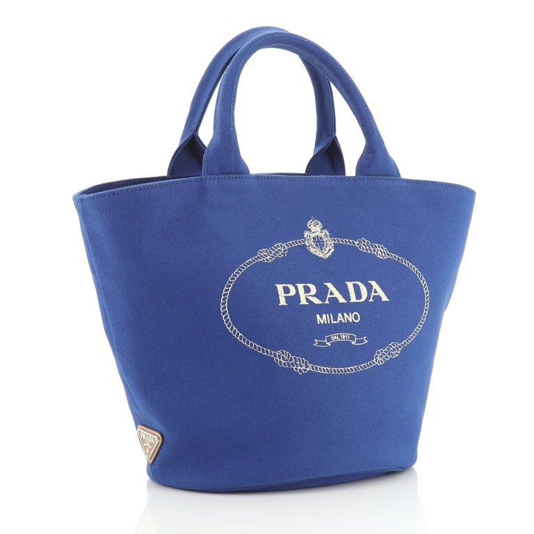 Prada Canapa Convertible Shopping Tote Canvas Medium In Good Condition For Sale In New York, NY