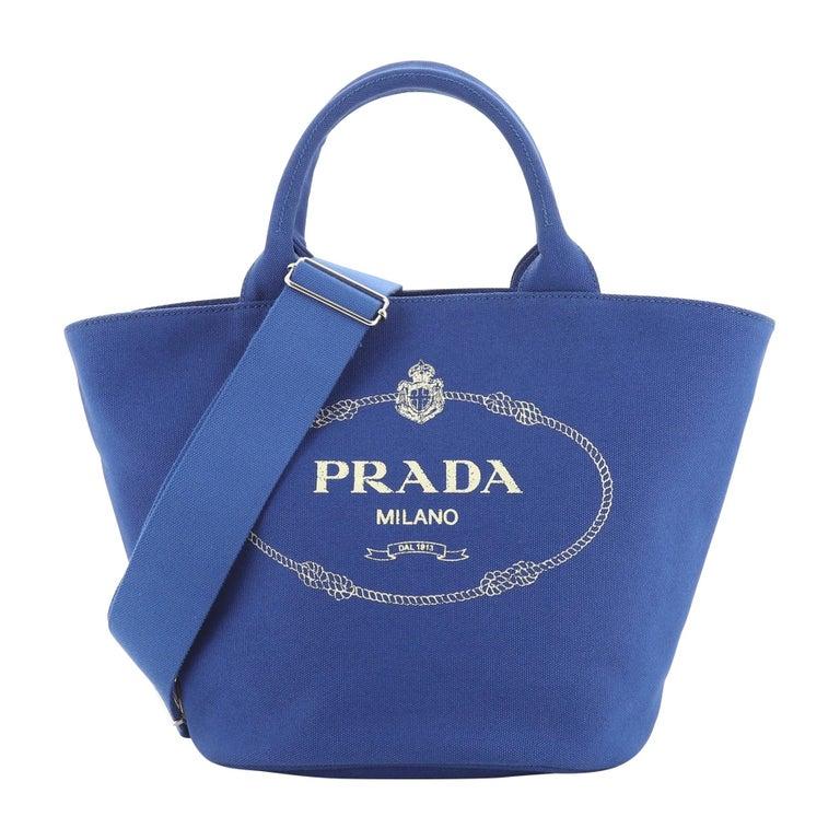 Prada Canapa Convertible Shopping Tote Canvas Medium For Sale