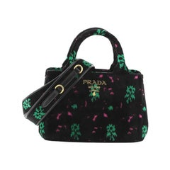 Prada Canapa Convertible Shopping Tote Printed Velvet Small