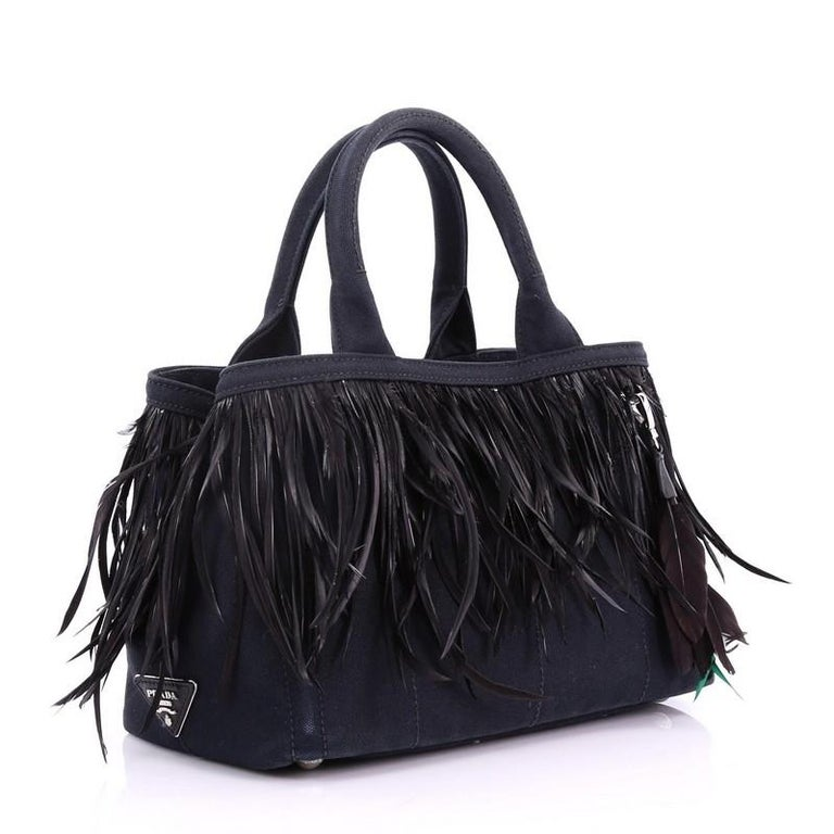 5cc644bccb09ef Prada Canapa Convertible Tote Canvas and Feather Mini For Sale at ...