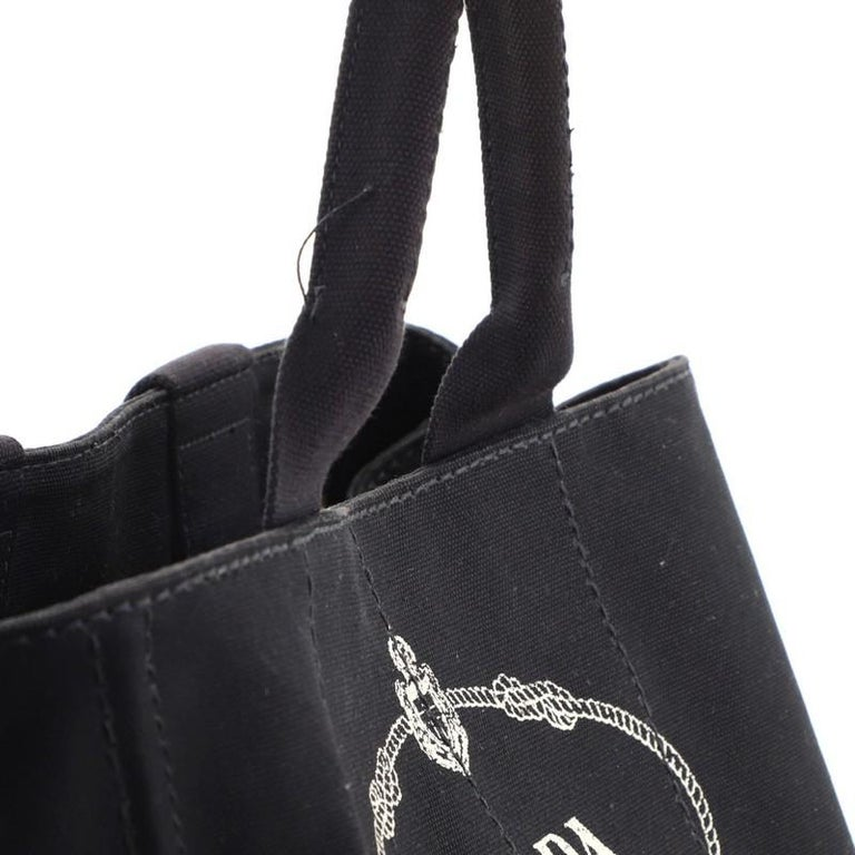 Prada Canapa Convertible Tote Canvas Large For Sale 4