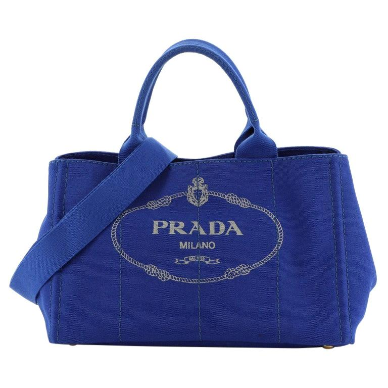 Prada Canapa Convertible Tote Canvas Large For Sale